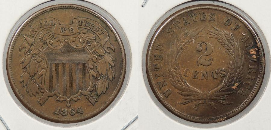 US Coins - 1864 2 Cents