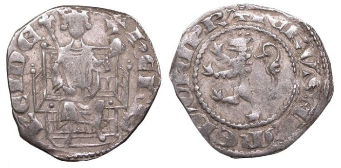 World Coins - CRUSADERS Cyprus Henri II, First Reign 1285-1306 Heavy Gros Petit (Demi Gros) 1st type, Struck 1290 or 1291-1306 VF