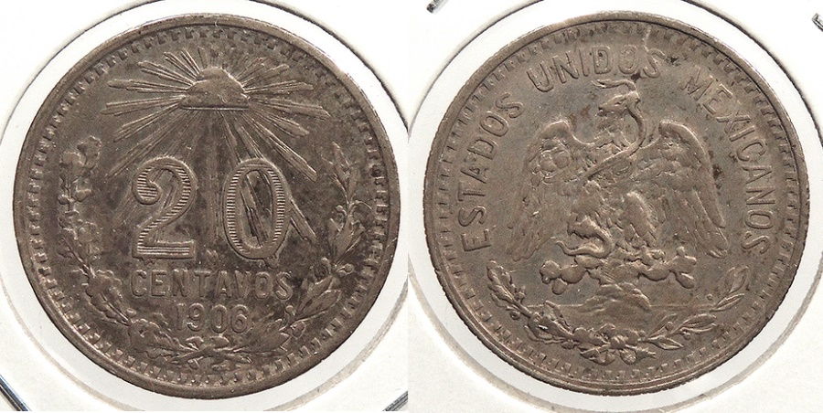 World Coins - MEXICO: 1906-Mo 20 Centavos