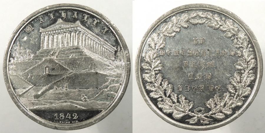 World Coins - GERMAN STATES: Bavaria 1842 Walhalla Memorial dedication 41mm Medal #WC63899