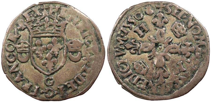 World Coins - FRANCE Henry II 1547-1559 Douzain aux Croissants 1550-G VF