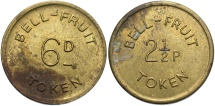 World Coins - JAMAICA: Bell Fruit Company 6 Pence token