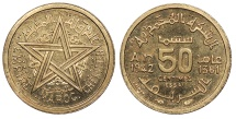 World Coins - MOROCCO Mohammed V 1942/AH 1361 Piedfort Essai 50 Centimes UNC