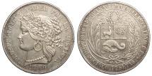 World Coins - PERU 1880-B BF 5 Pesetas EF