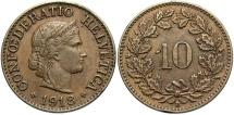 World Coins - SWITZERLAND: 1918-B 10 Rappen