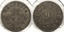 World Coins - SWITZERLAND: 1858 Better date - mintage 1,548,000 20 Rappen
