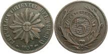 World Coins - URUGUAY: 1857 D 5 Centesimos