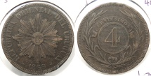 World Coins - URUGUAY: 1869-H 4 Centesimos