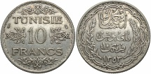 World Coins - TUNISIA: A.H. 1353 10 Francs