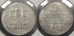 World Coins - GERMAN STATES: Hamburg 1855-A Schilling