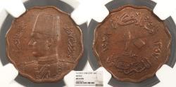 World Coins - EGYPT Farouk AH 1357 / 1938 10 Milliemes NGC MS-63 BN