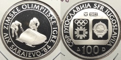 World Coins - YUGOSLAVIA: 1983 1984 Olympics Bobsled proof 100 Dinara