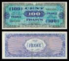 World Coins - FRANCE Allied Military Currency 1944 One Hundred Francs EF/AU
