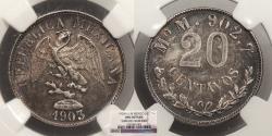 World Coins - MEXICO: 1903-Mo M 20 Centavos NGC UNC