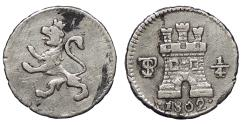 World Coins - BOLIVIA Carlos (Charles) IIII 1802-PTS 1/4 Real EF