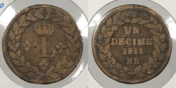 World Coins - FRANCE: 1815.-BB Dot after date and denomination. Decime