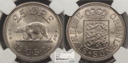 World Coins - GREENLAND Christian X 1926 25 Ore NGC MS-64
