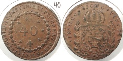 World Coins - BRAZIL: 1824-R 40 Reis