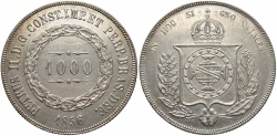 World Coins - BRAZIL: 1856 1000 Reis