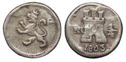 World Coins - COLOMBIA Carlos (Charles) IV 1803-NR 1/4 Real Good VF