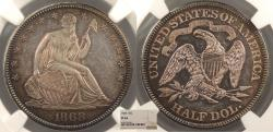 Us Coins - 1868 Seated Liberty 50 Cents (Half Dollar) Proof NGC PF-64