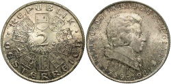 World Coins - AUSTRIA: 1931 175th anniversary of the birth of Mozart 2 Schilling