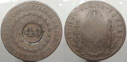 World Coins - BRAZIL: ND (1835) Countermark on 1832-R 80 Reis 40 Reis