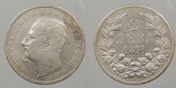 World Coins - BULGARIA: 1891 2 Leva