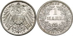 World Coins - GERMANY: 1915 F 1 Mark
