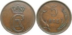 World Coins - DENMARK: 1906 5 Ore