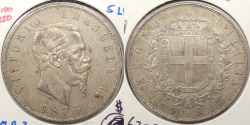 World Coins - ITALY: 1873-MBN 5 Lire