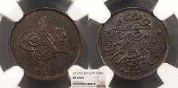 World Coins - EGYPT Abdul Hamid II AH 1293 Y32 (1906-1907)-H 1/40 Quirsh (Qirsh) NGC MS-62 BN