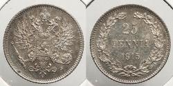 World Coins - FINLAND: 1915 25 Pennia
