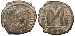 Ancient Coins - Justinian I 527-565 A.D. Follis Constantinople Mint Fine