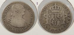 World Coins - PERU: 1801-LIMAE IJ Charles IV 2 Reales