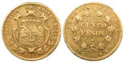 World Coins - COSTA RICA 1875-GW 5 Pesos EF