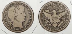 Us Coins - 1908-O Barber 50 Cents (Half Dollar)