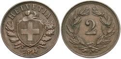 World Coins - SWITZERLAND: 1914 B 2 Rappen