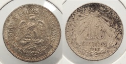 World Coins - MEXICO: 1933-Mo 10 Centavos