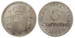 World Coins - PUERTO RICO Alfonso XIII 1896-PGV 5 Centavos AU