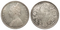 World Coins - INDIA Victoria 1877-dot Rupee UNC