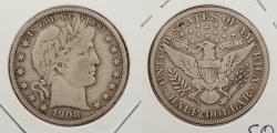 Us Coins - 1908 Barber 50 Cents (Half Dollar)