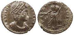 Ancient Coins - Helena, mother of Constantine I 324-328 A.D. AE4 Trier Mint EF