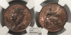 World Coins - GREAT BRITAIN George IV 1825 Farthing NGC MS-63 RB