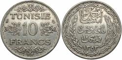 World Coins - TUNISIA: A.H. 1353 10 Francs