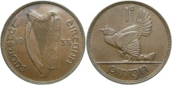 World Coins - IRELAND: 1933 1 Penny
