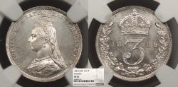 World Coins - GREAT BRITAIN Victoria 1889 Threepence NGC MS-65