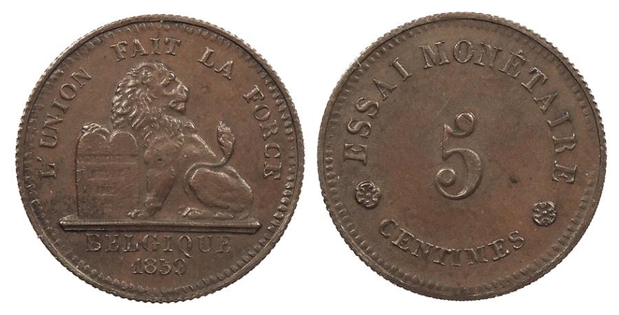 World Coins - BELGIUM Leopold I 1859 Essai 5 Centimes AU/UNC