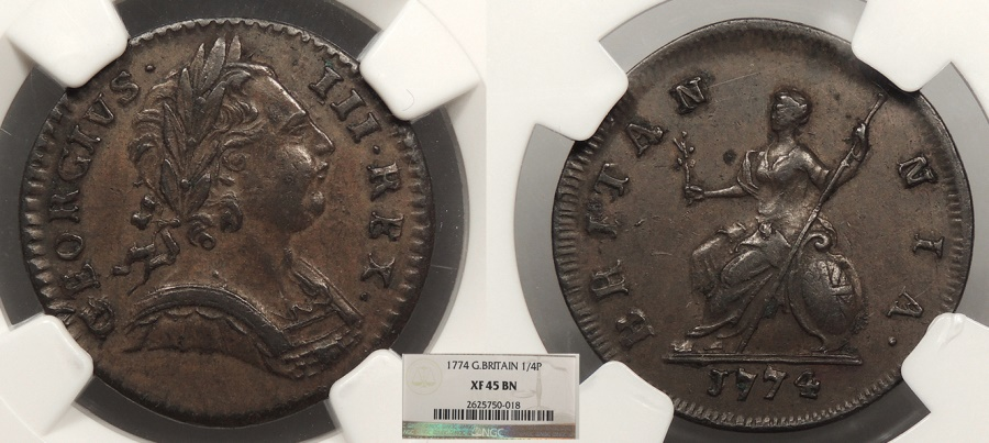 World Coins - GREAT BRITAIN George III 1774 Farthing NGC EF-45
