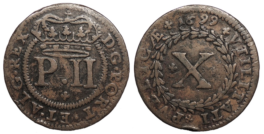 World Coins - PORTUGAL D. Pedro II 'o Pacifico' 1699 10 Reis (1/2 Vinten) VF